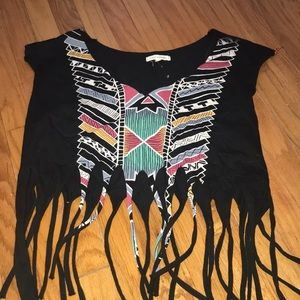 urban outfitters pattern fringe top! Size Small.